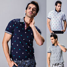 New Stylish Mens Animal Print T Shirt Sport Shirt Lapel Collar Short Sleeve Tops