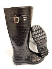 Ladies Girls Tall Croc Skin Wellington Boots UK 3,4 Rain Winter Snow Welly NEW