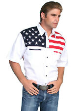 Scully Western Mens White 100% Cotton S/S American Flag Western Shirt