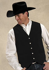 Roper Mens Black Silky Cow Suede Leather Basic Snap L/S Western Vest