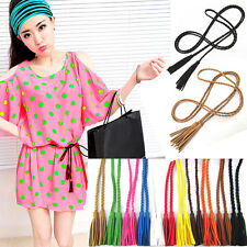 Dress Casual Women' PU Leather Wooden bead Feather Weave Twisted Rope Waist Belt