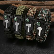 1Set Rope Paracord Survival Bracelet Flint Fire Starter Compass Whistle Outdoor*