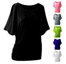 Bat Sleeve Hot Blouse  Sexy Women Round Neck  Loose T-shirt Short Sleeve Top