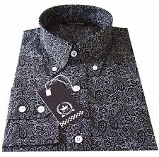 Relco Men's Black Paisley Long Sleeved Button Down Collar 60's Shirt Indie Mods