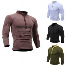Hot Men's Luxury Long Sleeve Casual Shirt Slim Fit T-shirt Shirts New Tops h1102