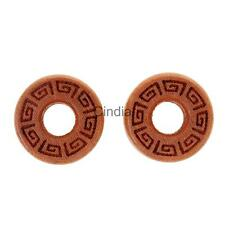 Pair Handmade Natural Wood Flesh Tunnels Double Flared Ear Plugs Gauges 10-25mm
