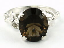 SR154, 6ct Smoky Quartz, 925 Sterling Silver Angel Ring-Handmade