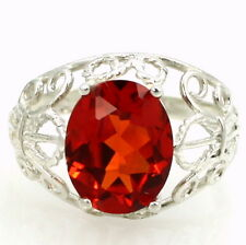 Created Padparadsha Sapphire, 925 Sterling Silver Angel Ring, SR154-Handmade