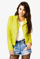 Blogger Forever 21 Lime Bomber Faux Leather Moto Zipper Jacket Small S