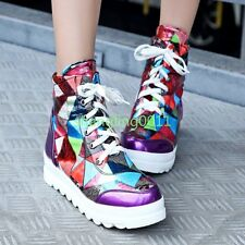 Womens Colorful Lace Up Platform High Top Fashion Sneakers Shoes Ankle Boots New