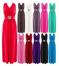 New Women Ladies Bridesmaid Evening Prom Short Buckle Maxi Dress Uk Size 8-26