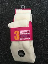 BNWT Marks and Spencers Cream Soft Cotton Tights x3. Girls.  Age 3-14 Years