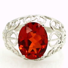 Created Padparadsha Sapphire, 925 Sterling Silver Ladies Ring, SR162-Handmade