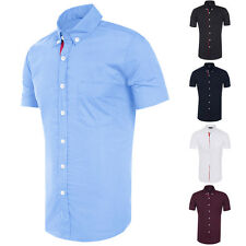 Mens Slim Fit Buttons Down Formal Casual Shirts Short Sleeve Work T Shirt Tops