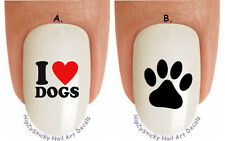 """WaterSlide Decal Set#1351 """"I Love Dogs Black Paw Dog Breed"""" Nail Art Transfers"""