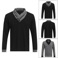 Men Slim Fit Button V Neck Casual T-shirt Polo Shirt Long Sleeve Tee Tops Blouse
