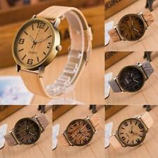 Casual Vintage Leather Strap Quartz Analog Wooden Wristwatch