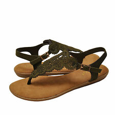 Women Shoes Bamboo Tundra 54S Scalloped Perforated T-Strap Sandal Olive New