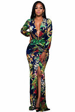 Plunging V Neck Floral Print Front Slit Long Sleeve maxi Dress size UK 8 10 12