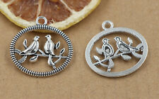 5/20/100pcs Tibetan Silver Beautiful two birds Jewelry Charms Pendant 24x25mm