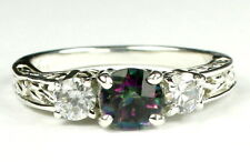 Mystic Fire Topaz w/CZ Accents, 925 Sterling Silver Ring, SR254-Handmade