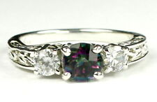 Mystic Fire Topaz w/CZ Accents 925 Sterling Silver Ladies Ring SR254-Handmade