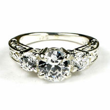 Cubic Zirconia  w/ CZ Accents, 925 Sterling Silver Ring, SR254-Handmade