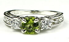 Peridot  w/CZ Accents, 925 Sterling Silver Ring, SR254-Handmade