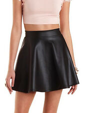 Faux Leather Black Flare Skirt by Barneys