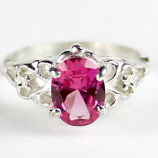 Created Pink Sapphire, 925 Sterling Silver Ring, SR302-Handmade