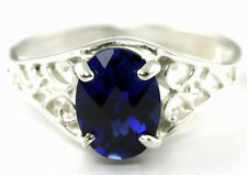 Created Blue Sapphire, 925 Sterling Silver Ring, SR305-Handmade