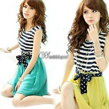 Women Chiffon Scoop Neck Splicing Stripes Vest Mini Dress Sleeveless WT88