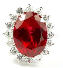 Created Ruby, 925 Sterling Silver Royal Engagement Ring, SR310-Handmade
