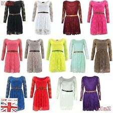 Ladies Floral Lace Long Sleeve Women Flared Belted Party Skater Dress UK 8 - 14