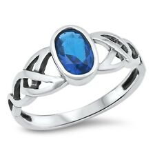 925 Sterling Silver Irish Celtic Knot Ring with Blue Sapphire CZ Sz 4-12