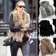 Genuine Women Raccoon Collar Trim Knit Rabbit Fur Vest Waistcoat Gilet ED