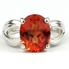 Created Padparadsha Sapphire, Sterling Silver Ring, SR361-Handmade