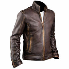 Mens Cafe Racer Stylish Biker Brown Distressed Leather Jacket ( All Sizes )