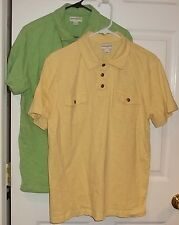 Mens BANANA REPUBLIC~POLO SHIRT size LARGE~Green Yellow Rugby Golf Top