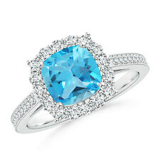 Cushion Natural Blue Topaz Cocktail Ring with Diamond Halo 14k Gold Size 3-13