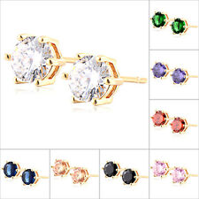 1Pair Womens Yellow Gold Plated Crystal Stud Earrings Fashion Jewelry