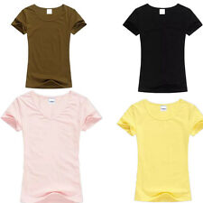 Ladies T-Shirt T Shirt Solid Color Tops Womens O-neck Color Tops Short Sleeve