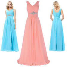 New Ladies Formal Evening Prom Sequins Dress V-Neck Chiffon Bridesmaids Dresses