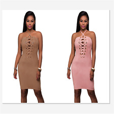 Sexy Women Pink Grommet Detail Halter Suede Bodycon Mini Cocktail Evening Dress
