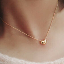 Charm Mini Heart Pendant Long Necklace 24K Gold Filled Simple Statement