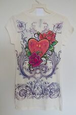 Sexy & Sinful Love Hearts Gold Silver Rhinestones Roses Vintage Shirt S M L