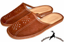 Mens Real Suede Leather Brown Handmade Indoor Slippers Scuffs Slip On All Size
