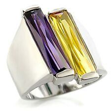 Silver Plated Simulated Amethyst Citrine Cocktail Ring Cubic Zirconia Size 9 10