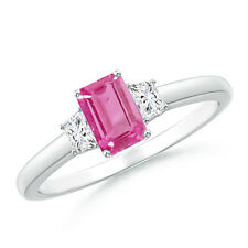 Emerald Cut Pink Sapphire and Diamond Three Stone Ring 14k White Gold Size 3-13