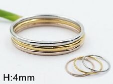 Knuckle Midi Rose Gold Silver Stainless Steel Plain 3 Ring Set Size 6 7 8 L N P